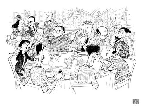 Cartoon of the Round Table Set by Al Hirschfeld